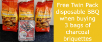 FREE Twin Pack Disposable BBQ with 3 Bags Charcoal Briquettes