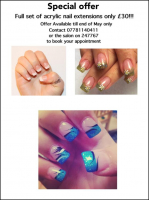 ACRYLIC NAIL EXTENSIONS ONLY £30 AT SHADES OF GRACE