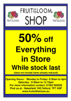 CLOSING DOWN SALE 50% off Everything 75% off Childrens