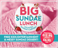 Sunday lunch carvery at Village Hotel Bury including new messy Sundae desserts