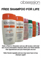 Free Shampoo for Life if you refer a friend to Obsession