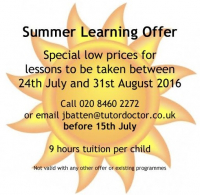 Special summer offer on tutoring from The Tutor Doctor