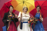 Brides with umbrellas