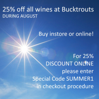 25% OFF ALL WINES AT BUCKTROUTS