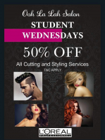 STUDENT WEDNESDAYS !!! 50% OFF ALL CUTTING AND STYLING SERVICES