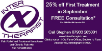 25% off first treatment in September.