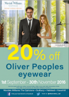 20% off Oliver Peoples Eyewear at Wardale Williams - Opticians in Sudbury