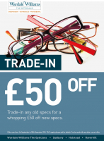 Trade in your old specs& get £50 off