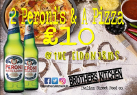 Pizza and 2 Peronis for £10