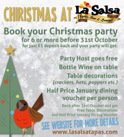 Early Bird Christmas Booking - Free Food at La Salsa