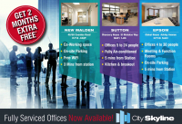 Get 2 Months Extra FREE with Serviced Offices in Epsom – Sutton – New Malden with City Skylne