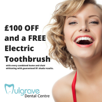 £100 OFF and Free Electric Toothbrush with combined home and chair whitening at Mulgrave Dental Centre