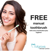 Free manual toothbrush with every examination plus hygiene at Mulgrave Dental Centre.