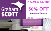 50% OFF PLEATED BLINDS