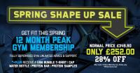 Save 28% on a 12 month Peak Gym Membership from USN Bolton Arena