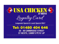 USA CHICKEN LOYALTY CARD - FREE LONGSANDS OR LUNCH SPECIAL