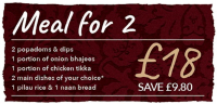 Meal for 2   £18 - Save £9.80