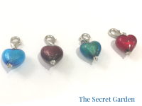 Murano glass heart charms