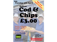 ONE DAY ONLY OFFER - TUESDAY 4th APRIL - MEDIUM COD & CHIPS £3 - TRADITIONAL FISH & CHIPS ST NEOTS
