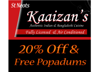 Free Popadums & 20% Off at Kaaizans Indian St Neots
