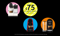 Receive up to £60 Club Reward on Selected Nespresso Machines at the Kitchen Shop