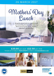 mothers, day, hbs, restaurant, amex, community, stadium, brighton, hove