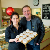 Phil Tufnell Drops Into His Local Bakery For A Doughnut Treat  @Childrens_Trust @TheChaletBakery #Tadworth