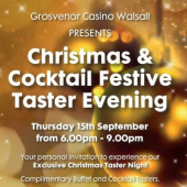 Grosvenor Casino invites all Best of Walsall Members to free Christmas Taster evening