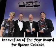 "Epsom Coaches scoops ""Innovation of the Year"" at the prestigious routeone awards @epsomcoachesgro"