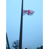 The Flags Are Up in Heanor for St George's Day - Or Are They?