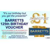 BARRETTS OF ST NEOTS 125th BIRTHDAY VOUCHERS