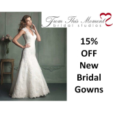 15% OFF New Bridal Gowns ordered (ends Mon 23rd) at From This Moment @FTMBridal