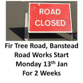 Fir Tree Rd Banstead – road works start Jan 13 8pm to 6am– could affect your journey @bansteadhighst