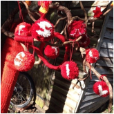Yarnbombing the trees around St. Mary's Church