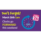 Clocks are going forward this weekend!