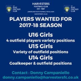 Players wanted for Harvesters FC girls teams for the 2017/18 season