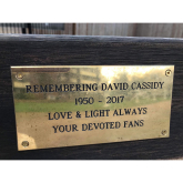 Bench with plaque for David Cassidy at Hammersmith park