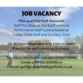 Job Vacancy at Calderfields Golf Shop