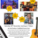 Join us for night of great music and food - Saturday 30th November starting at 7.30pm at 2nd Sutton Coldfield Scout Hut