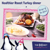 Healthier roast Turkey dinner with creamy mashed roots and low calorie gravy