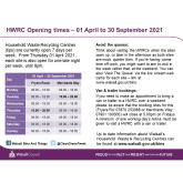 Tip Opening Times in Walsall    From 1st April 2021