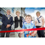 Charlie, Anne and Mayor cut ribbon at Lutterworth