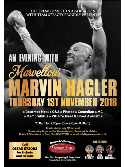 An evening with marvellous marvin hagler from the premier suite function room hire see all m4hsunfo