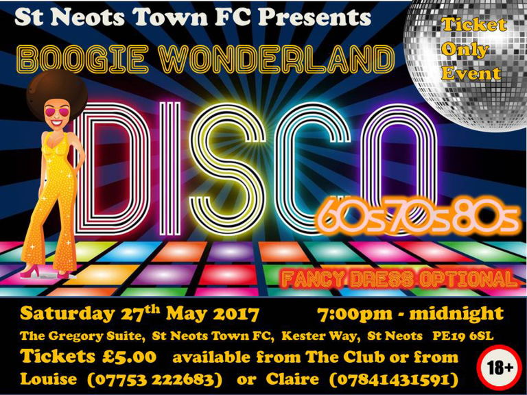 Boogie Wonderland Disco at St Neots Football Club