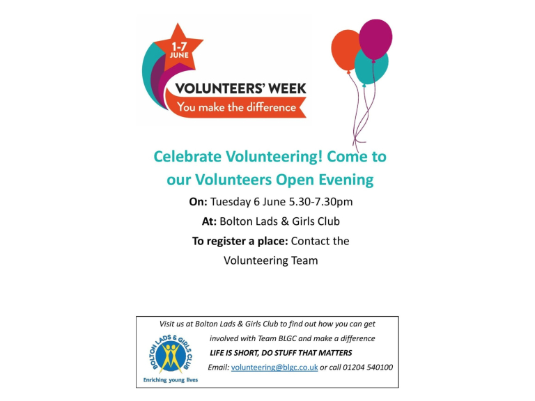 Volunteers Open Evening at Bolton Lads and Girls Club!