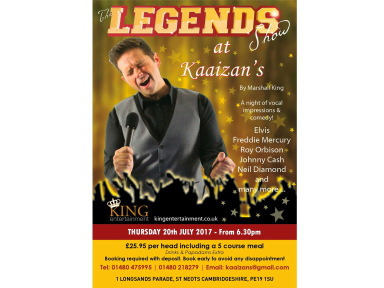 The Legends Night at Kaaizans Indian Restaurant St Neots