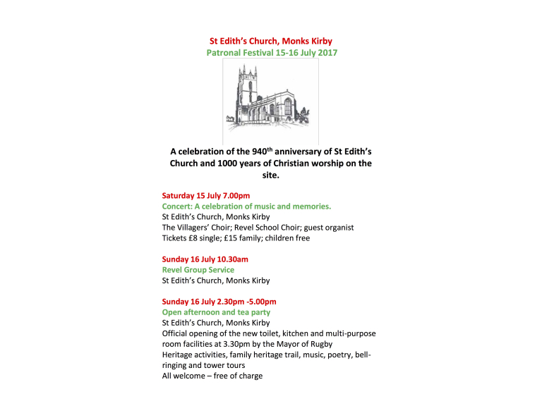 St Edith's Church 940th anniversary open afternoon and tea party