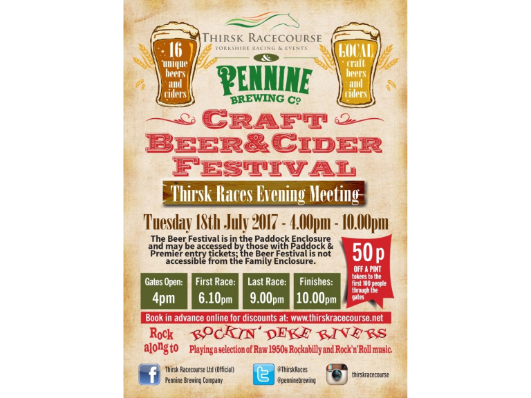 The Pennine Brewery Beer Festival – Thirsk Racecourse 18 July
