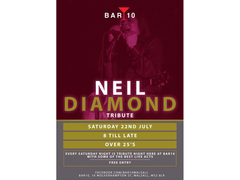 Neil Diamond Tribute Night @ Bar 10 Walsall