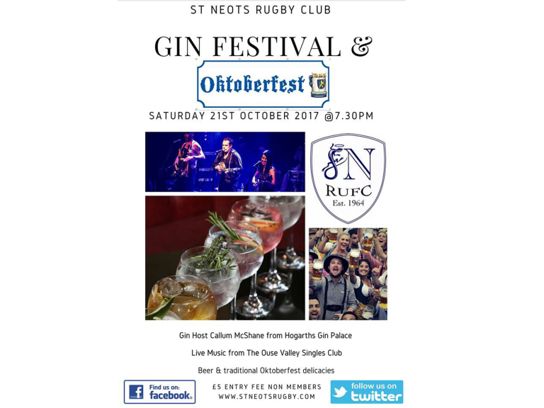 Gin Festival & More - St Neots Rugby Club Saturday 21st Oct